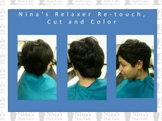 Nina's Relaxer Retouch Cut and Color