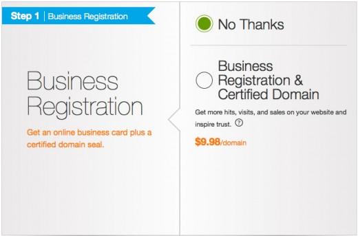 Domain business registration option.