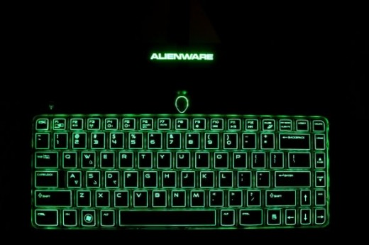 Alienware M11X keyboard, glowing in the dark