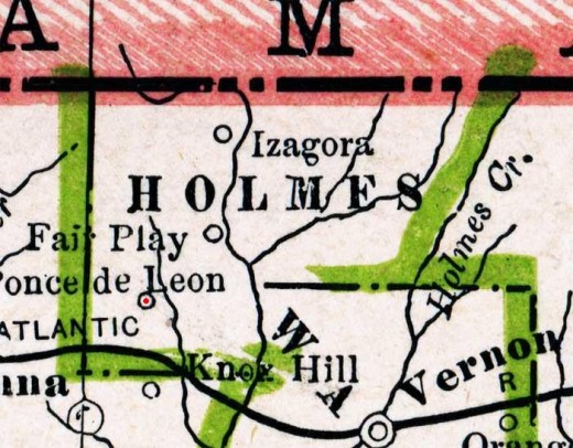 1886 map of the area showing Ponce de Leon.  Alabama is shown in red.   credit:  collection of Mr. Roy Winkleman