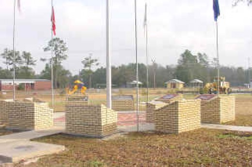 Blue Creek Veteran's Memorial site on the old school grounds.  Contact: Aubrey Ammons.
