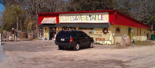 Flutes and Vegetables store has an interesting variety to sell, and will rent you a boat too.