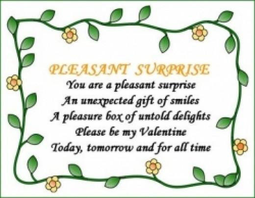 Pleasant Surprise Valentine Poem Poster