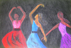 Dancing Sisters, Black Art by Injete Chesoni.