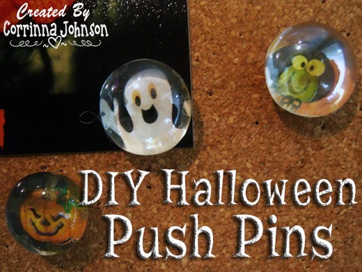 DIY Halloween Gemstone Push Pins Using Stickers And Patterned Paper