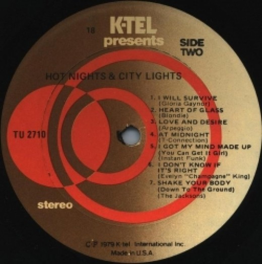 k-tel, record, label, side 2, hot nights & city lights
