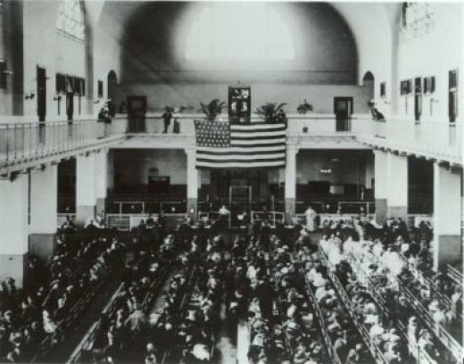 A 46-star American flag dates this photo of the Great Hall between 1907-1912.
