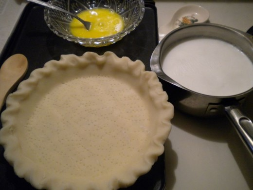 The beginning, pie crust ready to bake, milk ready to scald, and eggs lightly beaten.