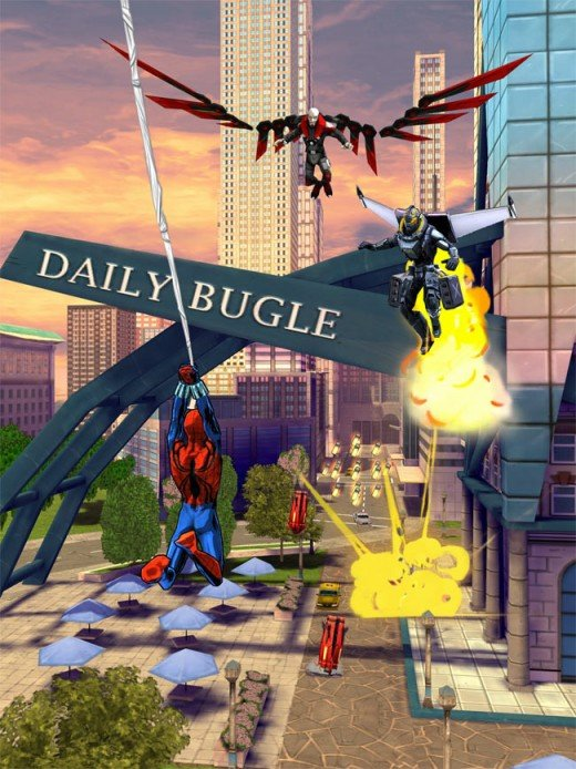 Spider-Man Slinging Past Daily Bugle
