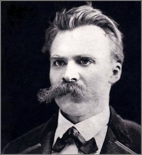 Photo of Nietzsche in 1875, probably before he contracted or showed symptoms of syphilis - suffering the fate of insanity at the end of his life in 1900.