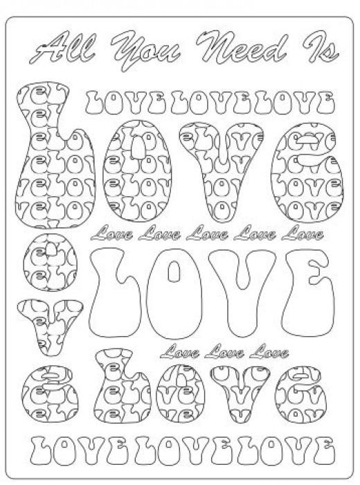 LOVE bubble letters fun designer coloring sheet