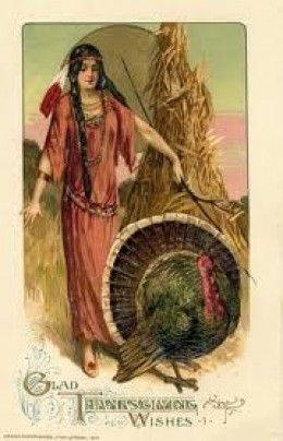 Indian Squaw with Turkey Schmucker Designed Postcard