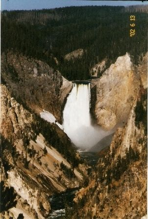 A view of the Upper Falls, canyon and Yellowstone RIver