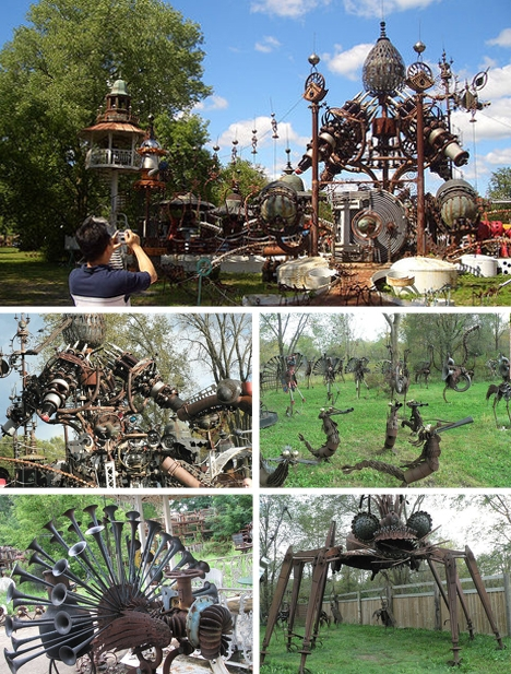 Yard art sculpted from various metals.