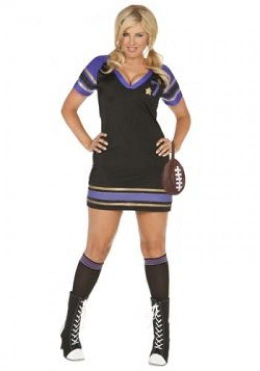 Sexy Ladies Plus Size Quarterback Costume