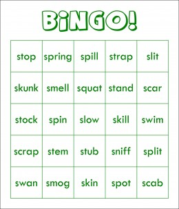 S-Blends Bingo card that I made on the computer
