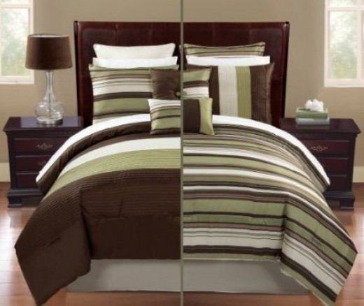 12 pc modern sage and brown reversible comforter set / bed in a bag /queen size bedding by Plush C Collection