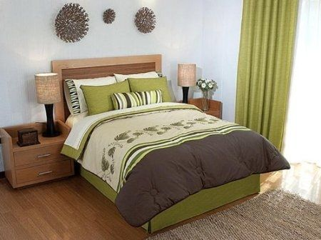 Green Brown Embroidery Comforter Sheet Bedding Set Full 9 Pcs