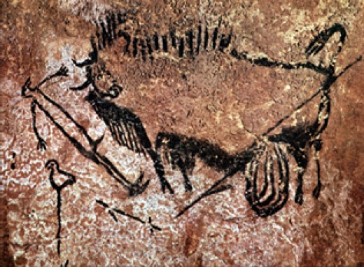 Cave Painting of Bird-Headed Man at Lascaux