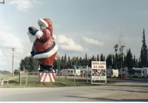 The Worlds Largest Santa just outside Santa's North Pole House