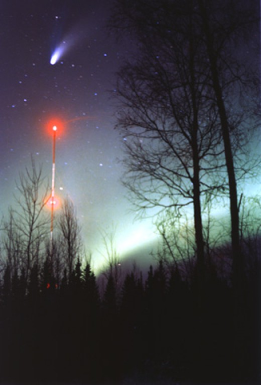 A Comet In The Night Sky Over The North Pole