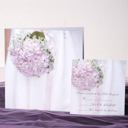 Lavender bridal bouquet square folded wedding invite