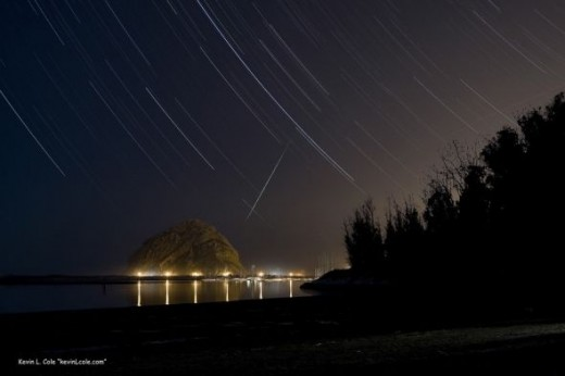 Meteor and Star Trail Photograph