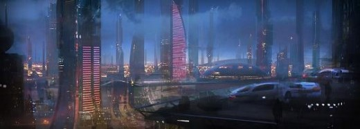 Mass Effect 2 teaser shot, showing what appears to be earth as it was described and briefly shown as in the first game.  Expect a population of at least 24 billion!