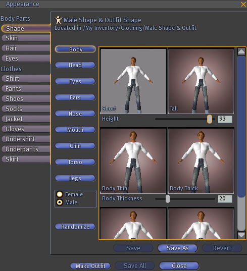 Customize your avatar's appearance by altering body thickness, shape, size, weight and height