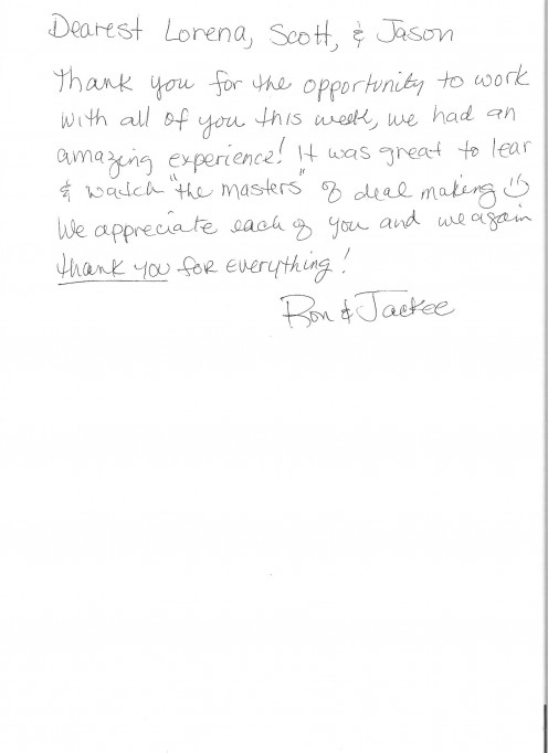 Thank you note from students.