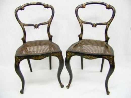 pair antique abalone inlay cane chairs - Vintage Wooden Dining Chairs