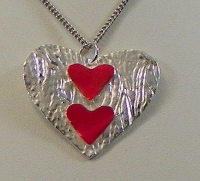 Fine Silver & Enamel Heart Pendant