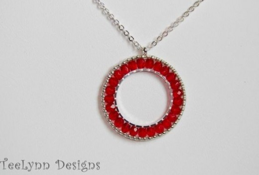 Silver & Red Crystal Necklacewww.TeeLynnDesigns.etsy.com