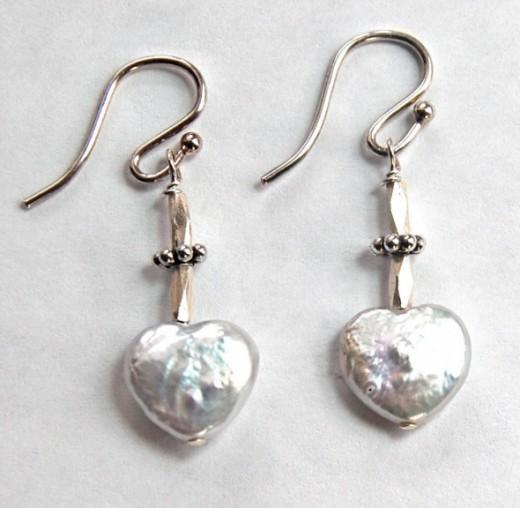 Flat Heart Shape Pear Earringswww.MalibuJewel.etsy.com