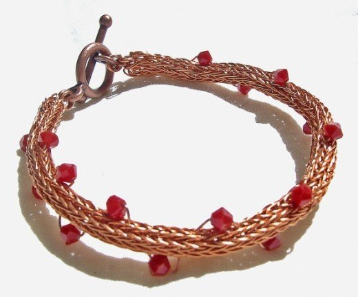 Copper and Coral Viking Braceletwww.ShazzabethCreations.etsy.com