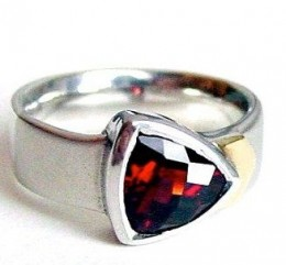 Red Garnet Ring Gold and Silverwww.ResaWilkinson.etsy.com
