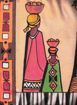 HAND PAINTED WOMAM & CHILD IN TRADITIONAL DRESS