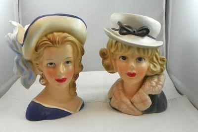 Japanese Lady Head Vases, 1950's-1960s