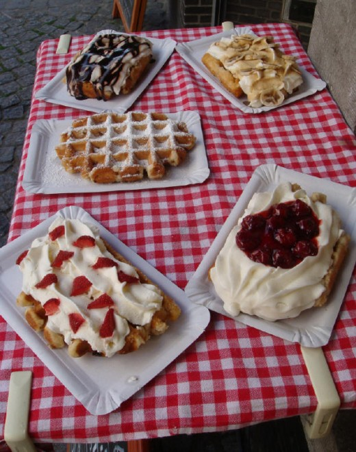 Waffles on display to tempt poor people like me.  Sobbing, I'm sobbing, I swear.