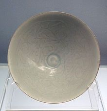 Qingbai glazed bowl with carved peony designs Jingdezhen ware 1127 1279