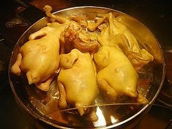 Wenchang Chicken after cooking, before being cut into pieces