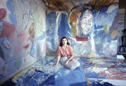 Helen Frankenthaler sitting Among her Art