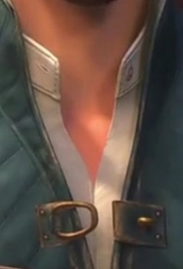 Shirt collar and button. Also good detail of the vest's collar.