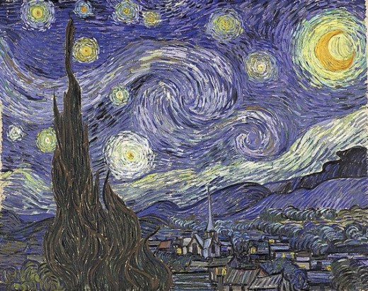 Beautiful Oil Painting Starry Night by Vincent van Gogh is mesmerizing! It resembles the brush strokes of Frank Roosa in the Squall.