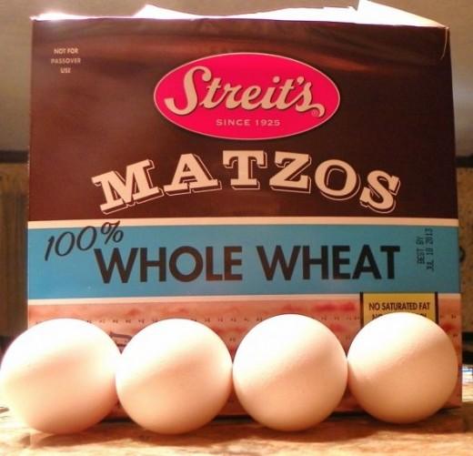 Matzo Box & Four Eggs
