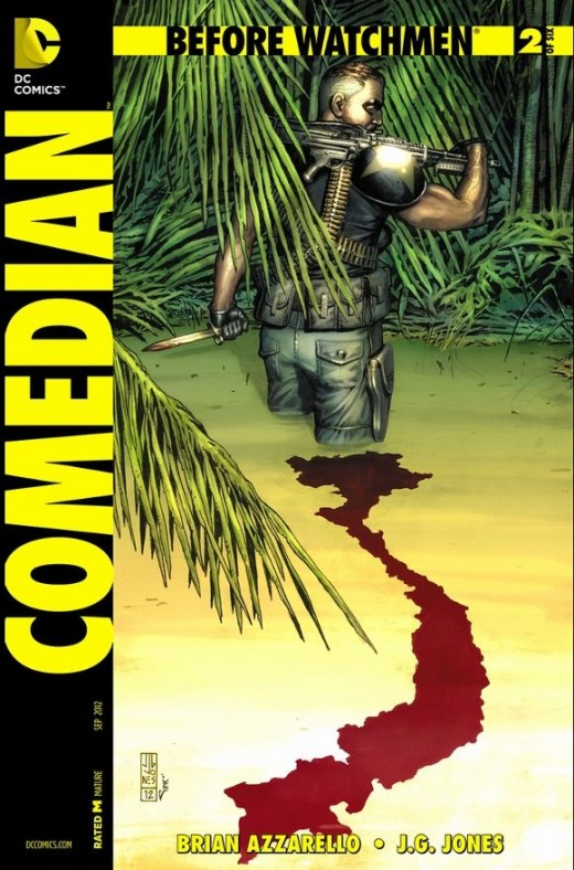Before Watchmen: The Comedian #2. Edward Blake is now sent on a tour of Vietnam. The issue shows how the American Government is secretly funding the war by running drugs during the hippie movement. Blake seems to love going to war and draws the infam