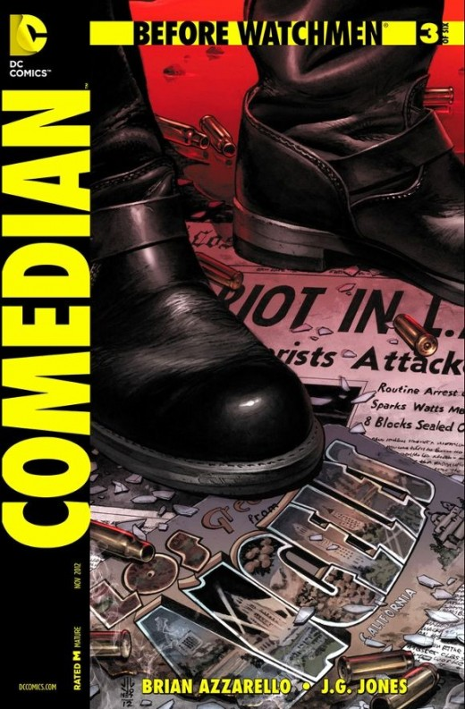 Before Watchmen: The Comedian #3. Blake gets a call from Bobby Kennedy and relates how things have changed since he arrived back from the war. The people no longer trust anyone and he doesn't see any truth to authority. Bobby asks Blake to apologize