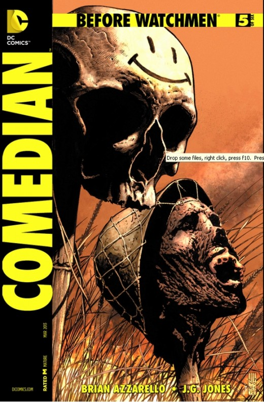 Before Watchmen: The Comedian #5. Blake continues his psychopathic behavior in Vietnam, but one thing he adheres to, is that he's a patriot. The issue covers his war crimes, including the belief that everyone in the country is the enemy, waiting to s