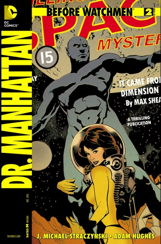 Before Watchmen: Dr. Manhattan #2. Jon Osterman, now caught in a temporal anomaly, sees multiple divergent futures. Not having been destroyed in an accident, he asks Janey to marry him. Elsewhere in the world, he observes differences in the Kennedy a