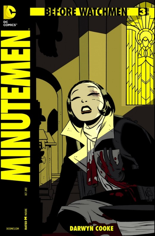 Before Watchmen: Minutemen #3. The story resumes where The Comedian has accosted Sally Jupiter. In response, the men kick him out of the group and Blake vows to kill them if he sees them again. Meanwhile, Silk Spectre rescues a girl from a child's ad